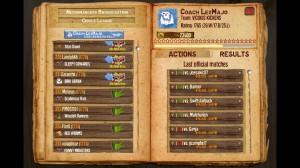 L'écran de ligue pour les défis et résultats.